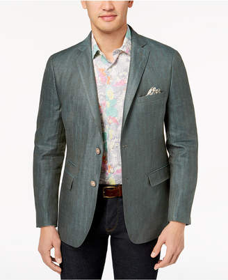Tallia Orange Men's Modern-Fit Green Tonal Herringbone Sport Coat