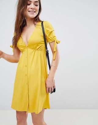 Asos Mini Button Through Tea Dress With Tie Sleeve