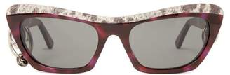 Acne Studios Dielle Cat Eye Leather And Acetate Sunglasses - Womens - Black Multi