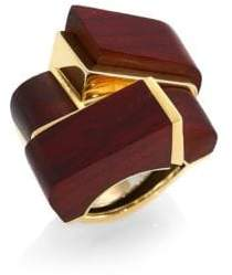David Webb Woodworks 18K Yellow Gold& Cocobolo Wood Ski Slope Ring