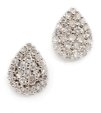 Adina Solid Pave Teardrop Stud Earrings