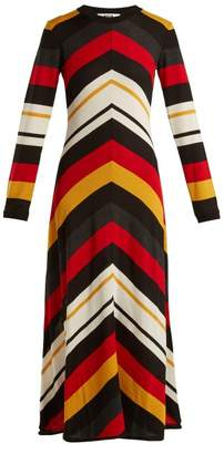 MSGM Chevron Striped Wool Blend Dress - Womens - Black Multi