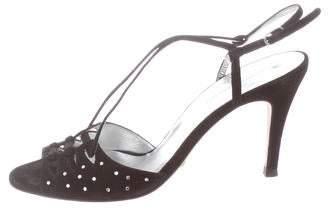 Dolce & Gabbana Suede Slingback Embellished Sandals