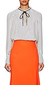 Derek Lam Women's Striped Silk Crepe Blouse - White Navy