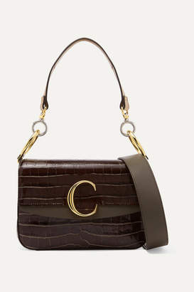 6d353fd9f2c8 Chloé C Small Leather-trimmed Croc-effect Shoulder Bag - Dark brown