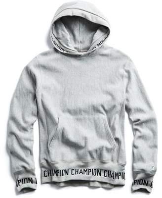 183891b00e37 Todd Snyder + Champion Logo Rib Popover Hoodie In Light Grey Mix