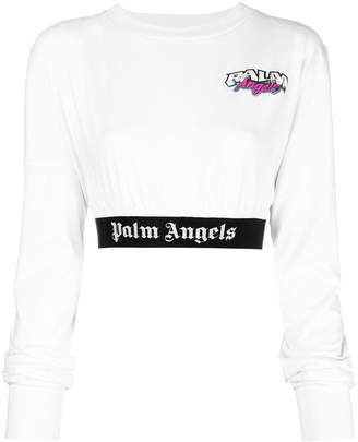 Palm Angels logo cropped sweatshirt
