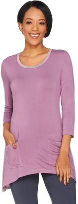 Logo By Lori Goldstein LOGO by Lori Goldstein Knit Top with Color-Blocking & Side Godets