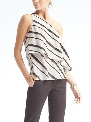 Stripe Flounce-Hem One-Shoulder Top $78 thestylecure.com