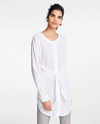 Ann Taylor Petite Tie Waist Button Down Tunic