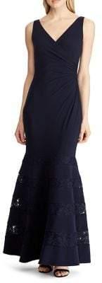 Lauren Ralph Lauren Lace-Trim Ruched Trumpet Gown