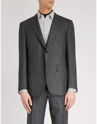 Canali Tailored-fit houndstooth wool and cashmere-blend jacket