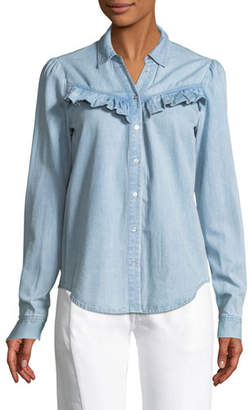 Paige Layda Snap-Front Chambray Shirt w/ Ruffled Trim