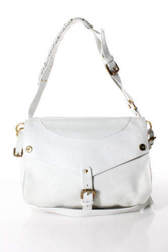 THAKOON Ivory Leather Rampling Gold Tone Buckle Trim Shoulder Bag Handbag $1555