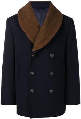 Brioni shearling collar coat