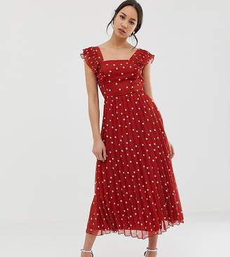 e6bc865cf58e Asos Tall DESIGN Tall pleated skater midi dress with square neck in rust  spot