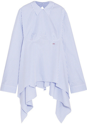 Off-White - Open-back Embroidered Striped Cotton-poplin Shirt - Light blue $630 thestylecure.com