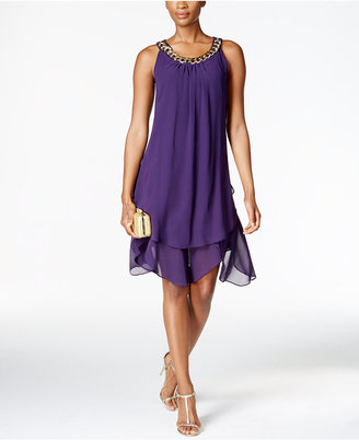 SL Fashions Chain-Link Tiered Shift Dress $79 thestylecure.com