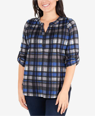 NY Collection Plaid Pintuck Henley Top