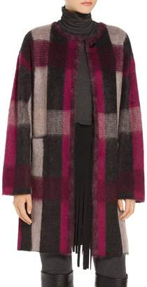St. John Brushed Line Plaid Mohair Wool Blend Knit Jacket