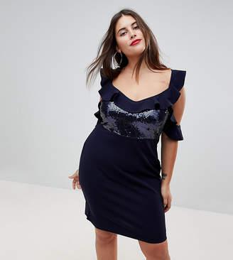 Naanaa Plus NaaNaa Plus Frill Detail Mini Dress in Sequins