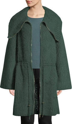 Emporio Armani Zip-Front Ruched-Waist Mohair-Blend Sweater w/ Exaggerated Collar