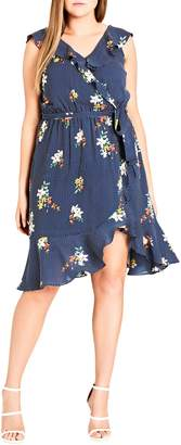 City Chic Spot the Floral Faux Wrap Dress