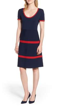 Anne Klein Colorblock Fit & Flare Sweater Dress