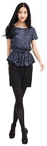 Ali Ro Short-Sleeve Peplum Dress with Sequin Accents