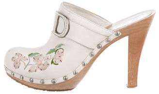 Christian Dior Floral Leather Clogs