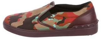 Valentino Camouflage Stud Slip-On Sneakers