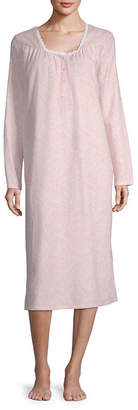 Adonna Flannel Long Sleeve Scallop Neck Nightgown