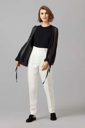 Amanda Wakeley Black Cashmere Top with Chiffon Sleeve