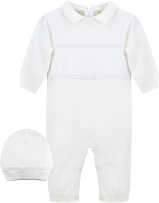 Carriage Boutique Elegant Christening Romper & Hat Set