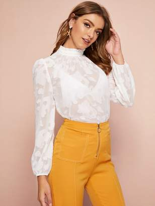 Shein Frilled Neck Semi Sheer Textured Top