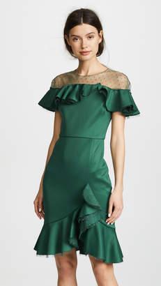 Marchesa Neoprene Cocktail Dress with Poin d'Esprit Yoke & Ruffles