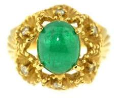 18K Yellow Gold With Diamonds And Green Stone Ring