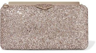 Jimmy Choo Ellipse Glittered Satin Clutch - Blush