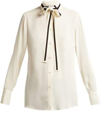 Valentino Striped Silk Georgette Blouse - Womens - Ivory Multi