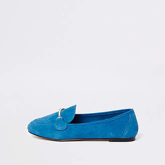 River Island Blue wide fit suede snaffle loafers