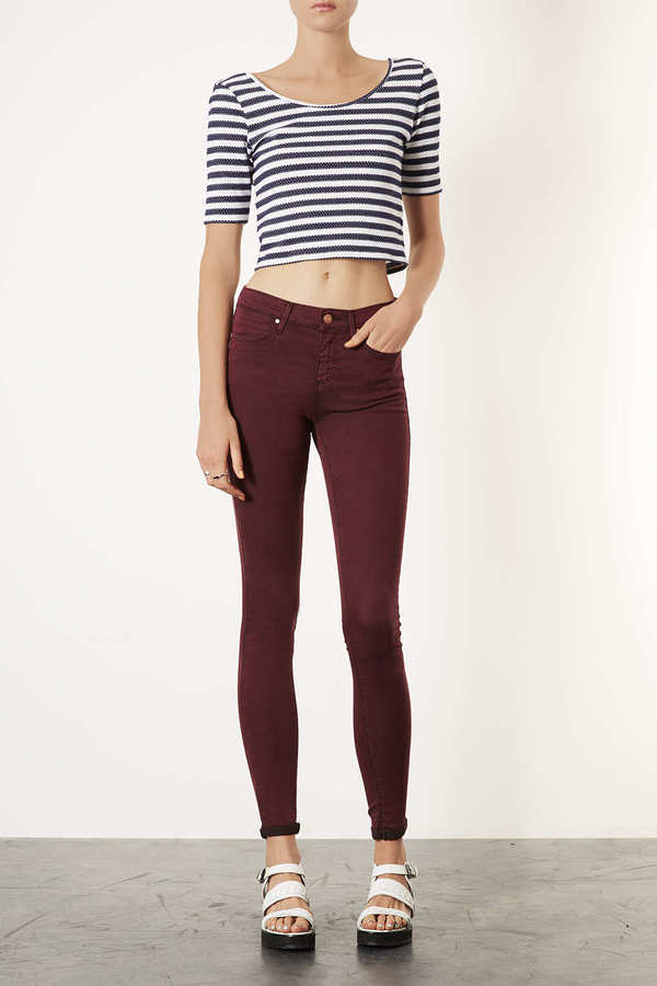 Topshop MOTO Wine Acid Leigh Jeans