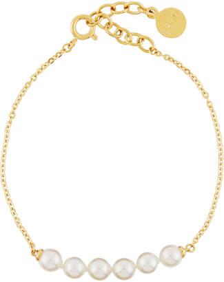 Majorica Beaded 5mm Pearl & Chain Bracelet, Yellow