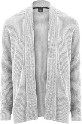 River Island Mens Light Grey open front rib knit cardigan
