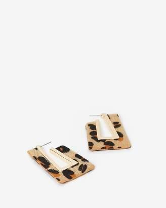 Express Leopard Print Geometric Open Earrings