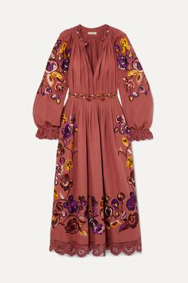 f0c42427b9a0 Ulla Johnson Miro Embroidered Linen And Cotton-blend Midi Dress - Orange