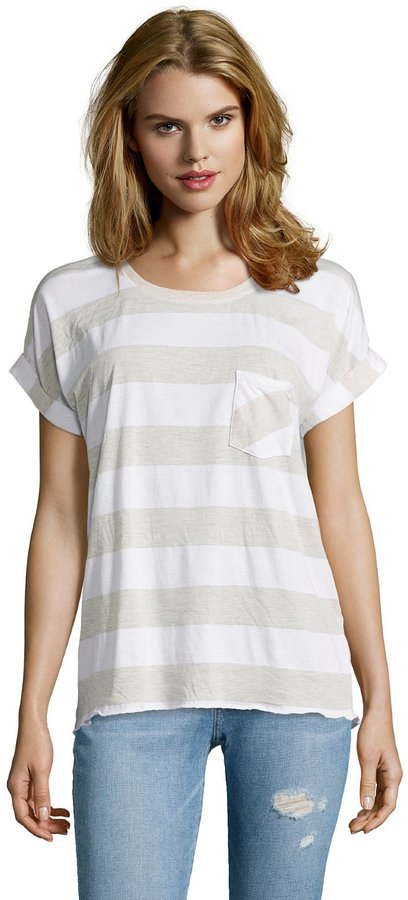 C&C California Oatmeal And White Striped Cotton Blend Jersey Boxy T-Shirt