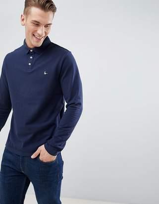 Jack Wills Staplecross Long Sleeve Polo in Navy