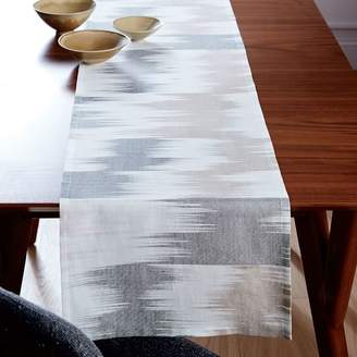 west elm Belgian Flax Blurred Ikat Jacquard Runner