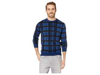 Perry Ellis Multicolor Plaid Crew Neck Sweater