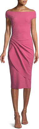 Chiara Boni Chiku Sheath Dress w/ Asymmetric Apron Skirt